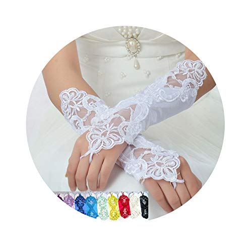 Bride Wedding Party Sexy Dressy Beaded Lace Gloves Fingerless Style Matching Costume,Yellow