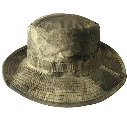 Summer Outdoor Sun Hat,Beautyolove Wild Sun Flat Bucket Hat for Boonie Hunting Fishing Safari with Adjustable Strap (G)