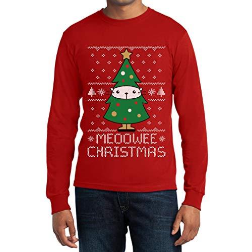Uomo Albero Shirtgeil Lunga Natale Rosso Christmas Manica Di Meoowee gattino Maglia t0w0qgA