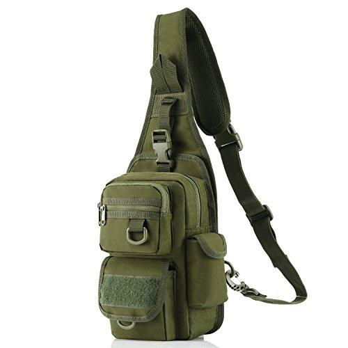 Barbarians Tactical Sling Bag Pack with Pistol Holster, Military Shoulder Bag Satchel, Range Bag Daypack Backpack (Green)