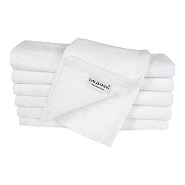 SALBAKOS Turkish Cotton Washcloths 12-Pack, White