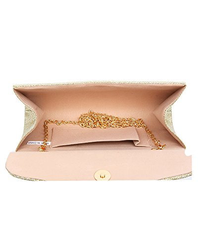 Evening Hard Diamante Ladies 22x10x6 Bridal Gold Case Glittery Wedding Handbag Bag cm Women's For Party Clutch Size 5 Prom tR4wEnq