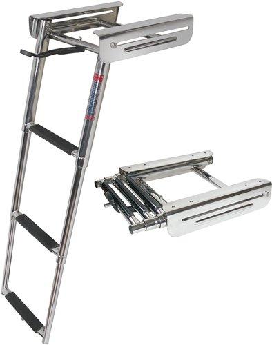4 Step Under Platform Sliding Ladder, Stainless 316 - Jif Marine - Poly Swim Platform