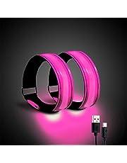Luz de correr para corredores (2 unidades) recargable LED brazalete reflectante para correr, banda de luz LED para corredores, ciclistas y caminantes (rosa)