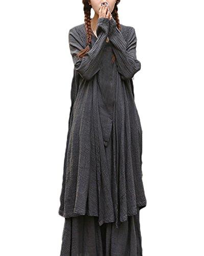 ZANZEA-Womens-Cotton-Linen-Long-Sleeve-Fake-2PCS-Button-TopsSkirt-Maxi-Dress
