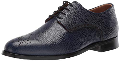 Marc Joseph New York Mens Leather Oxford Lace-Up Wingtip Dress Shoe, Navy Grainy 11 M US