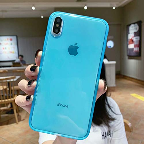 Clear iPhone Xs Max Case,[Shock Absorption Absorber Designed]+Premium Flexible Silicone TPU Bumper, Slim Fit Crystal Cover Cases Anti-Scratch Full Protective Soft Transparent Case-Blue