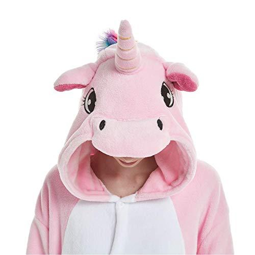 Women's Sleepwear Girls and Boys Halloween Cosplay Costume Unicorn Onesie Pajamas Animal Onepiece (140# Height(51-56 inch),Pink Unicorn)