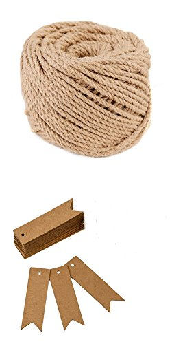 Kraft Paper Thanksgiving Gift Tags,100PCS Christmas Gift Tags,Brown Halloween Candy Hang Tags Wedding Bonbonniere Favor Gift Tag with Jute Twine 30 Meters for DIY Crafts & Price Tags