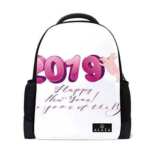 Price comparison product image Lightweight Happy New Year 2019 with Funny Pig Polyester Backpack School Book Bag Travel Daypack