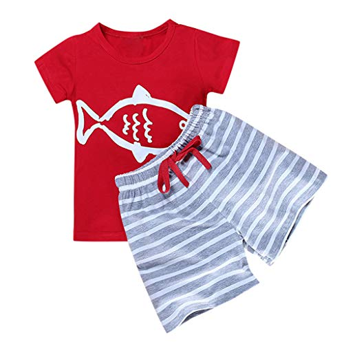 (Toddler Kids Boys 2PCS Outfits Set YESOT Summer Short Sleeve Tops Cotton T-Shirts Pants Set Stripe Shorts Elastic Band Sports Shorts Cartoon Outwear Clothes (Red, 4-5 Years))