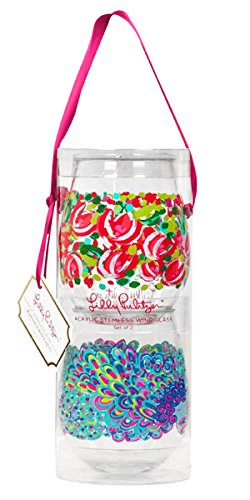 Lilly Pulitzer Set of 2 Acrylic Stemless Wine Glasses (Wild Confetti & Lilly's (Cute Wine Glasses)