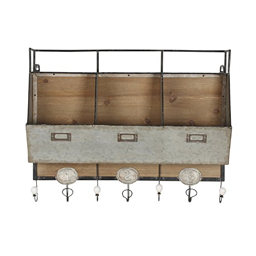 Kate and Laurel Arnica Wood and Metal Wall Storage Pockets by Kate and Laurel