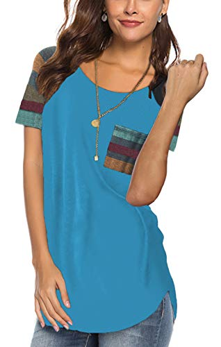(Aokosor Short Sleeve T Shirt Women Cotton Basic Plain Loose Tee Tops with Split Lake Blue XL)