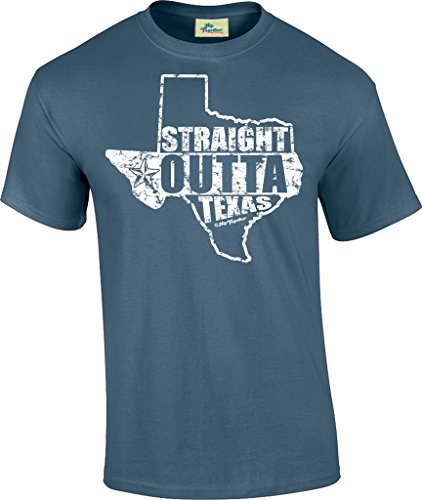 Hip Together Straight Outta Texas Unisex Tee (Large, Indigo - Fresno River Park