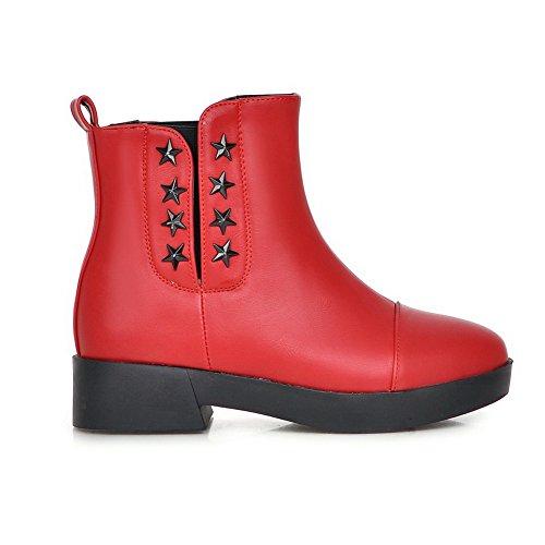 Damen Rot Ornament Heels Metall Plateau 1TO9 Square Imitierte Lederstiefel v4qUdZZ