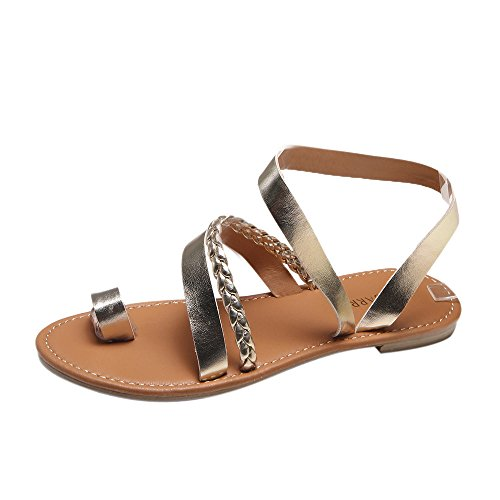 BURFLY Damen Sandalen, Mode Frauen Sommer Riemchen Gladiator Low Flat Heel Flip Flops Strand Bohemia Sandalen Sandalen Schuhe Office Schuhe Gold