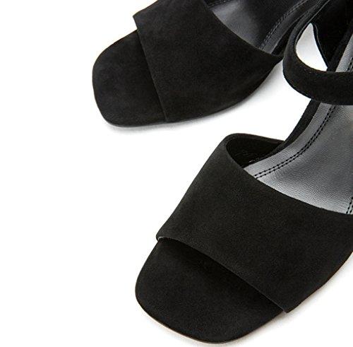 Sandali basso tacco a donna Sandali Pantofole con moda 36 piatti da basso estivi alti Tacchi Sandali Nero casual tacco alla DHG 17qnav67