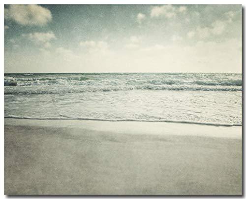- Beach Decor, Ocean Art, Seascape, Waves, Beach Landscape Photograph, Blue, Beige.