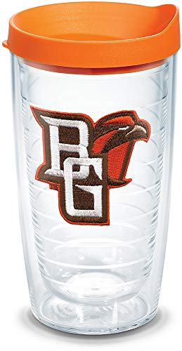 Tervis 1084591 Bowling Green Falcons Logo Tumbler with Emblem and Orange Lid 16oz, Clear