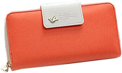 PU Leather Wallet,Hemlock Women Girls Clutch Purse Zipper Button Wallet Handbag (Orange)