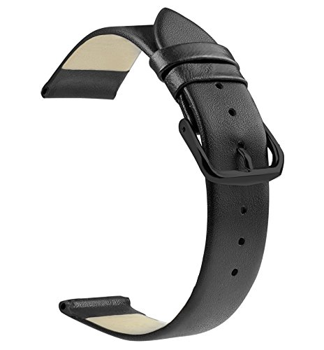 ZLIMSN Soft Genuine Leather Watch Band Full Grains 18mm 20mm 22mm Smooth Thin Strap Color Black Black(PVD) Pin - Your Customize Ferrari