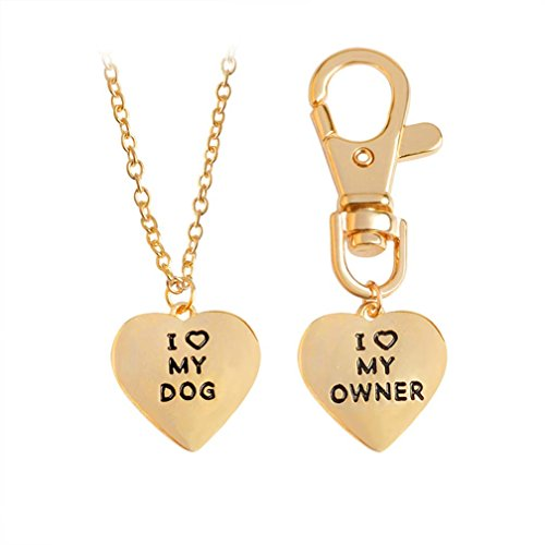 Bone Pet Necklace Charm - 4EAELove Best Friend Dog Necklace Engraved Bone Pendant Love Dog Tag Necklace Pet Tag Keychain Collar Dog-Human Jewelry Dog Lover Gifts Christmas Alloy Stainless Steel