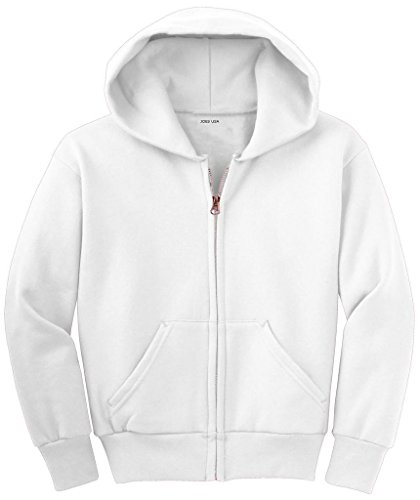 Joe's USA - Youth Full-Zip Hooded Sweatshirt-White-S