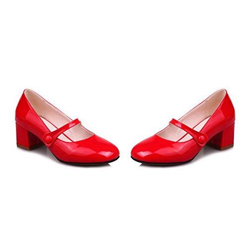 Amoonyfashion Damesschoenen Solid Pu Kitten-hakken Pull-on Pumps-schoenen Rood