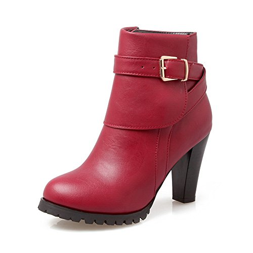 Red Slipping Sole BalaMasa Shoes Imitated Solid Heel Womens Wheeled Non Boots Leather Y4qwgYx