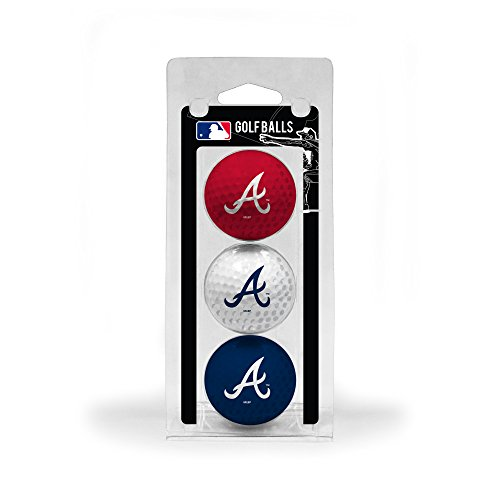 Team Golf MLB Atlanta Braves Regulation Size Golf Balls, 3 Pack, Full Color Durable Team Imprint