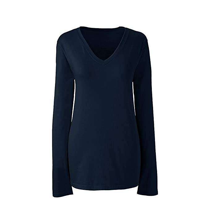 420be2a0d4fb9 Lands  End Women s Supima Cotton Long Sleeve T-Shirt - Relaxed V-Neck