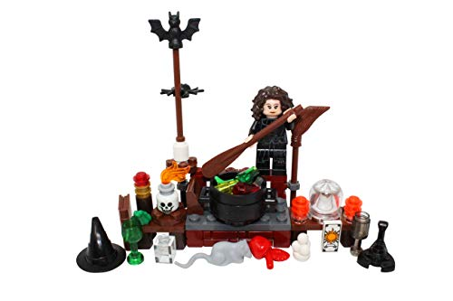 LEGO Halloween Witch, Cauldron, Broom, Spell Book, Hat More Toy - Custom Spooky Monster Minifigure -