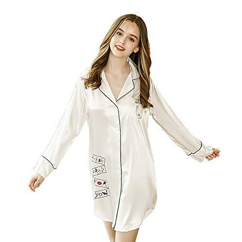 FERFERFERWON Nachthemd Sommer sexy Shirt Pyjamas Frauen frisch Campus Wind Langarm Nachthemd weibliche Sommer Simulation Seide Student Hause Kleidung (Farbe  Weiß, Größe  XL)