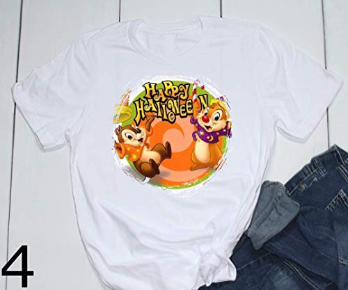 Mickey Minnie Chip Dale Halloween Trick or Treat Vampire Witch Spooky Pumpkin Disney Epcot Printed T-Shirt Unisex, Womens, Toddler]()
