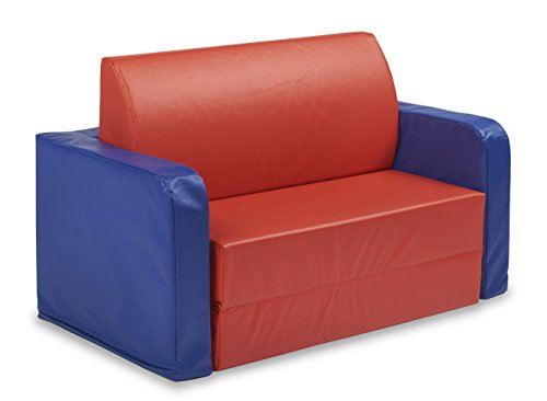 ECR4Kids SoftZone Convertible Kids Couch, Blue/Red