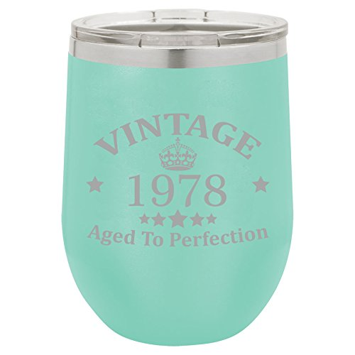 12 oz Double Wall Vacuum Insulated Stainless Steel Stemless Wine Tumbler Glass Coffee Travel Mug With Lid Vintage Aged To Perfection 1978 Birthday 40th Birthday (Teal)