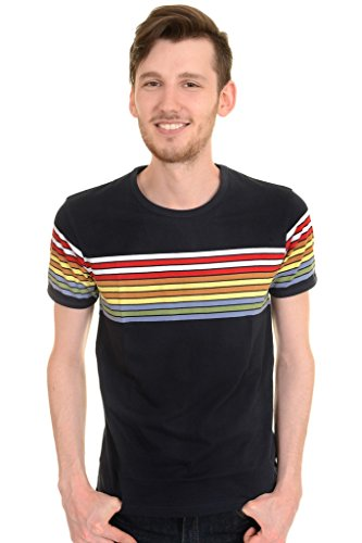 Mens Run & Fly 60s 70s Retro Rainbow Striped T Shirt Large 60s 70s Cotton