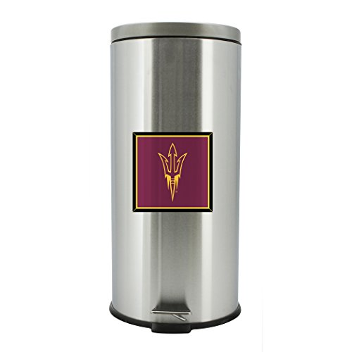 - Duck House NCAA Arizona State Sun Devils Stainless Steel Trash Bin with Foot Pedal, 30 Liter