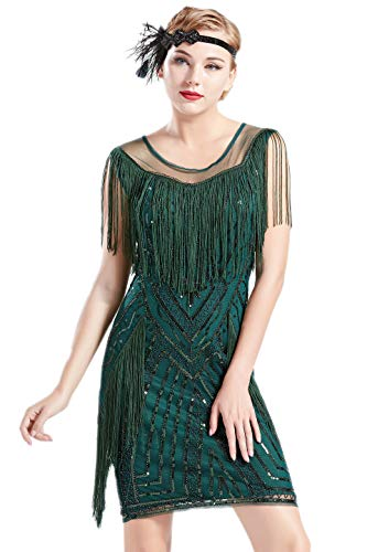 BABEYOND 1920s Gatsby Dress Long Fringe Flapper Dress Roaring 20s Sequins Beaded Dress Vintage Art Deco Dress (Dark Green, S)]()