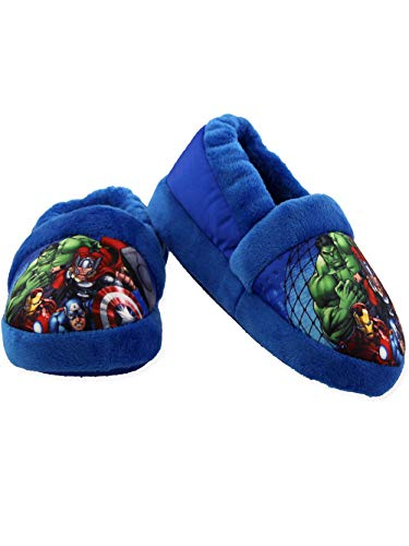 Marvel Avengers Superhero Boys Toddler Plush Aline Slippers (11-12 M US Little Kid, Blue)