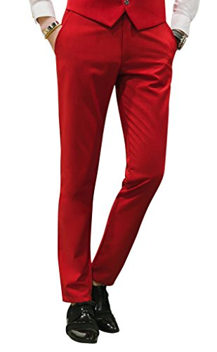 MOGU Mens Slim Fit Front Flat Casual Pants US Size 32 Bright Red