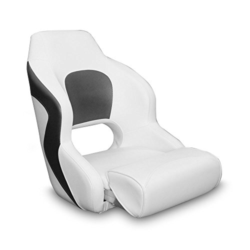 Leader Accessories Two Tone Captain's Bucket Seat Boat Seat(White/Charcoal)