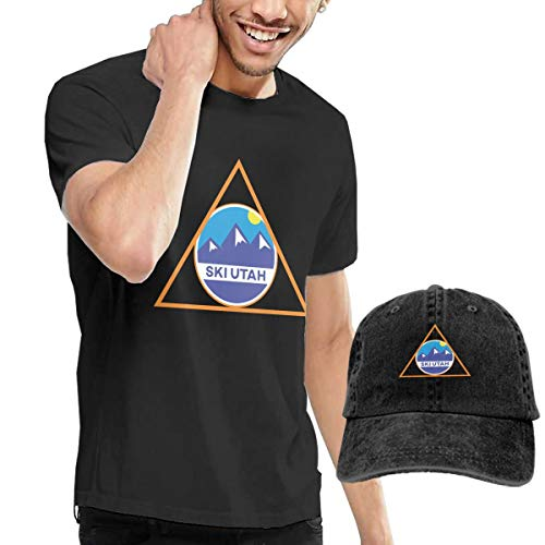 Goldsmith Sally Ski Utah Skiing Triangle Skiing Lover Adult Short Sleeve T-Shirt and Hat Combo ()