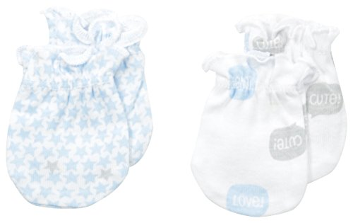 Petit Lem Baby-Boys recién nacido My Little Car 2 Pack Mittens, color Blanco, talla Una talla