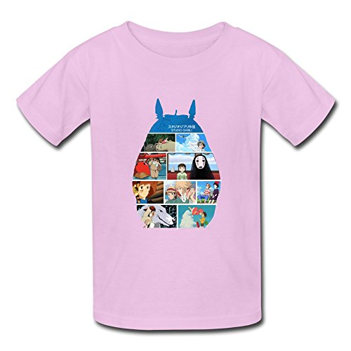 Swag O-Neck Totoro Spirited Away Cliff Kids Boys And Girls T Shirts Pink US Size M