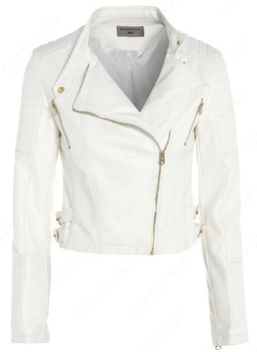 NEW Womens Biker Jacket Off White Faux Leather Size 8 - 16 (UK -12 ...