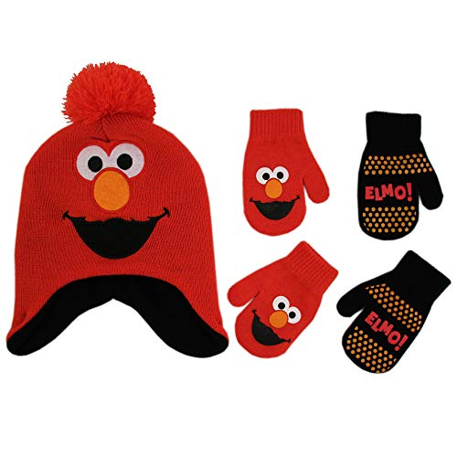 Sesame Street Elmo Hat and 2 Pair Mittens Cold Weather Set, Toddler Boys Age ()