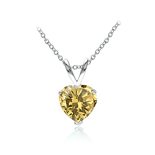 Sterling Silver Citrine 7mm Heart Solitaire Necklace