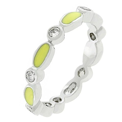 - FB Jewels Solid Yellow Link Enamel Stacker Ring
